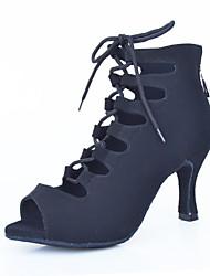 cheap -Women's Dance Shoes Latin / Tap / Modern / Samba Leatherette Stiletto Heel Black Customizable