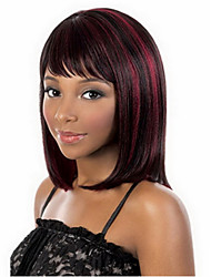Top Quality Bugundy Strip   Fashion Middle Long  Straight  Wig Woman's Synthetic Wig Hair Party  Wig