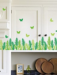 Grass Butterfly Leaves Skirting Line Vinyl Removable Sticker Kids Room Home Decor Art Diy Wall Stickers Decal Wall Paper