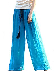 cheap -Women's Mid Rise Inelastic Wide Leg Jeans Pants,Boho Solid Rayon Polyester Summer