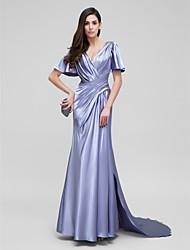 baratos -Tubinho Decote V Cauda Corte Cetim Elástico Evento Formal Vestido com Drapeado Lateral / Cruzado de TS Couture®
