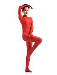 abordables -Disfraces Zentai Ninja Zentai Disfraces de Cosplay Rojo Un Color Leotardo/Pijama Mono Zentai Espándex Licra Unisex Halloween