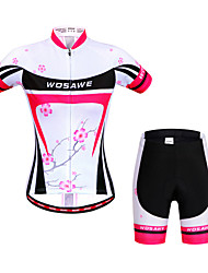 cheap -WOSAWE Cycling Jersey with Shorts Women's Short Sleeves Bike Sweatshirt Jersey Shorts Top Clothing Suits Quick Dry Anatomic Design