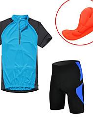 abordables -KORAMAN Maillot de Ciclismo con Shorts Hombre Manga Corta Bicicleta Pantalones Cortos Acolchados Camiseta/Maillot Medias/Mallas Largas