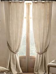 Недорогие -2 шторы Окно Лечение Современность , Твердый Гостиная Полиэфирно-льняная смешанная ткань материал Шторы портьеры Украшение дома For Окно