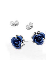 cheap -Cute Roses Flower Crystal 2pcs - Vintage Party Work Purple Red Blue Earrings For