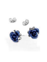 cheap -Crystal Stud Earrings / Earrings - Roses, Flower Vintage, Party, Work Purple / Red / Blue For