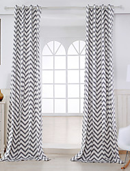 cheap -Rod Pocket Grommet Top Tab Top Double Pleat Two Panels Curtain Modern, Print Stripe Living Room Cotton Material Curtains Drapes Home