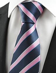cheap -New Striped Pink Blue JACQUARD Men's Tie Necktie Wedding Party Holiday Gift#0010