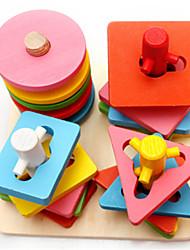 O jardim de infância primeiras lições inteligência e colorido coluna 5 sólidos brinquedos de madeira