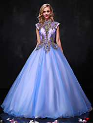 Ball Gown Princess Halter Floor Length Organza Formal Evening Dress with Beading Lace Sequins by QZ