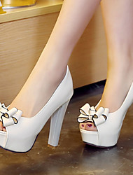 cheap -Women's Shoes Microfiber Spring / Summer Chunky Heel / Platform Bowknot White / Black / Red / Dress
