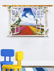 preiswerte -3D-Fenster Landschaft Wandaufkleber Blumen Feld rote Blume yellower Aufkleber Blume