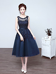 cheap -A-Line Illusion Neckline Tea Length Lace Over Tulle Cocktail Party / Homecoming / Prom Dress with Beading Appliques by LAN TING Express