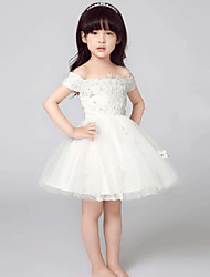 cheap -A-Line Short / Mini Flower Girl Dress - Tulle Short Sleeves Off-the-shoulder with Bow(s) by Lovelybees