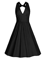 Women's Bow Casual/Daily / Beach Vintage / Street chic A Line Dress,Solid Halter Knee-length Sleeveless