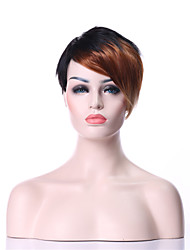 billige -Syntetiske parykker Lige Syntetisk hår Flerfarvet Paryk Dame Kort Lågløs