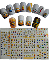 11pcs  New  Cartoon  Lovely  Small  Yellow Doll Water Transfer Nail Art Stickers STZ075-085