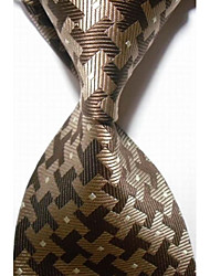 cheap -New Checked Brown Gray JACQUARD WOVEN Men's Tie Necktie #3009