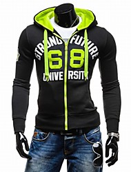 cheap -Men's Daily Sports Hoodie Letter Hooded strenchy Cotton Long Sleeve Winter Spring Fall