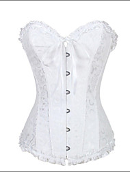 cheap -Women's Lace Up Hook & Eye Overbust Corset-Jacquard