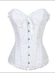 cheap -Women's Overbust Corset Nightwear,Retro Jacquard Modal Polyester Nylon Spandex White