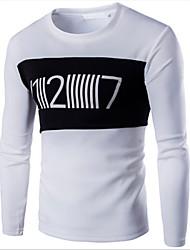 preiswerte -Herren T-shirt-Druck Freizeit Baumwolle Lang-Schwarz / Weiß