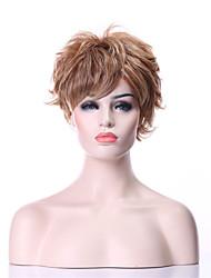 abordables -Pelucas sintéticas Rizado Rubio Pelo sintético Rubio Peluca Mujer Corta Sin Tapa