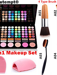 preiswerte -3in1 Make-up-Set (78 Farben 3in1 60 + 12 rauchigen Eyeshadow 6 Rouge Make-up Kosmetik-Palette + 1 errötenpinsels + 1 Pinsel Ei)