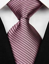 Corbata(Gris Oscuro / Marrón Claro / Bermellón,Poliéster)-A Rayas