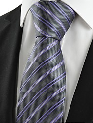 cheap -KissTies Men's New Striped Lilac Black Microfiber Tie Necktie For Wedding Party Holiday With Gift Box