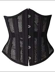 Shaperdiva Women's Black Double Steel Boned Corset Thin Mesh Punk Elastic See Through Fabric Underbust