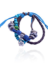 cheap -Vintage Style Bead Pendant Alloy  Leather Bracelet