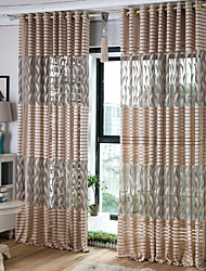 Rod Pocket Grommet Top Tab Top Double Pleat Two Panels Curtain Country Modern Neoclassical Mediterranean European , Print & Jacquard