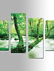 Недорогие -Пейзаж Холст для печати 4 панели Готовы повесить,Вертикальная