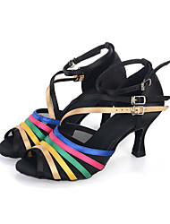 cheap -Women's Dance Shoes Belly / Latin / Dance Sneakers / Modern/ Samba Satin Flared Heel Black Customizable