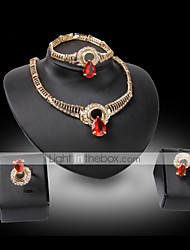 cheap -Synthetic Diamond Jewelry Set - 18K Gold Plated, Rhinestone, Imitation Diamond Statement, Luxury, Vintage Include Black / Fuchsia / Red For Party Special Occasion Anniversary / Earrings / Necklace