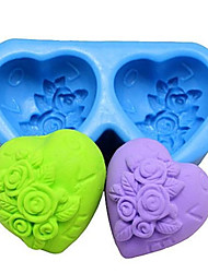 cheap -Heart shaped Rose Fondant Cake Chocolate Silicone Mold