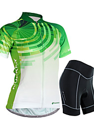Недорогие -Nuckily Жен. С короткими рукавами Велокофты и велошорты - Зеленый геометрический / Цветочные / ботанический Велоспорт Шорты / Джерси / Наборы одежды, Водонепроницаемость, 3D-панель, Дышащий