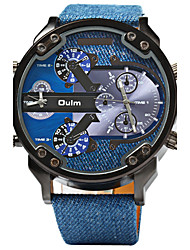 cheap -Oulm Men's Quartz Military Watch Sport Watch Dual Time Zones Leather Band Luxury Cool Blue