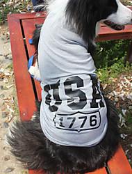 Недорогие -Коты / Собаки Футболка Красный / Синий / серый Одежда для собак Лето / Весна/осень Американский / США Мода