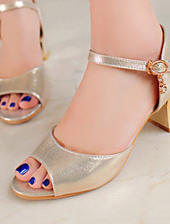 cheap -Women's Shoes Chunky Heels/Sling back/Open Toe Sandals Party & Evening/Dress Black/Silver/Gold