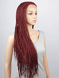 Fashion Synthetic Wigs Lace Front Wig 32inch Braided Red Heat Resistant Hair Wig Women