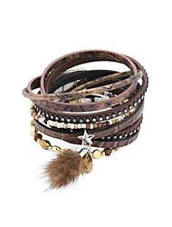 leather Charm BraceletsFashion Trendy 4 Rows Crystal Set /BeadsBracelet/Star/ Fur Charm Leather Wrap Bracelet