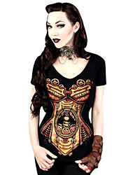Top o camicia Lolita Classica e Tradizionale Cosplay Vestiti Lolita Nero Con stampe T-shirt Per Donna Licra