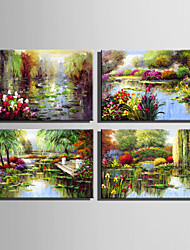 Mini Size E-HOME Oil painting Modern Garden Pond Scenery Pure Hand Draw Frameless Decorative Painting
