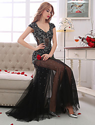 Sheath / Column V-neck Floor Length Lace Tulle Formal Evening Dress with Beading Crystal Detailing Lace Sequins by QZ
