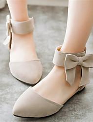preiswerte -Damen Schuhe Samt Frühling Sommer Herbst Mary Jane Flacher Absatz Schleife Reißverschluss Für Normal Kleid Schwarz Beige Grün Rosa