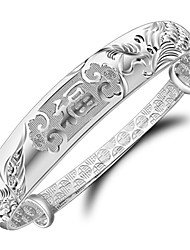 cheap -Women's Bracelet Sterling Silver Plated Sample Chinese Characters means Happiness Bangle Bracelet Wedding Bride
