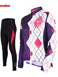 baratos -TASDAN Mulheres Manga Longa Calça com Camisa para Ciclismo - Preto Moto Meia-calça Camisa/Roupas Para Esporte Calças Conjuntos de Roupas,